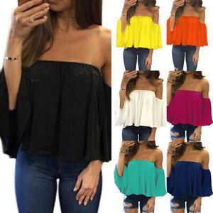 Summer Women/'s Off Shoulder Ruffles Blouse T-Shirt Casual Loose Beach Crop Tops