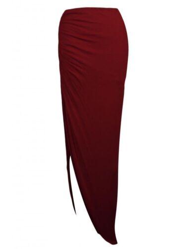 Nouveau Jupe longue dames longue froncée côté split gypsy robe moulante jupes stretch