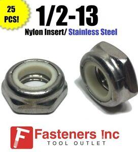 1//2-13 Stainless Steel Nylon Insert Lock Hex Nut UNC Nylock Qty 5