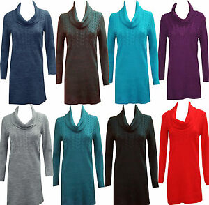 Womens-Knitted-Cowl-Neck-Long-Sleeve-Ladies-Top-Bodycon-Dress-Jumper-8-10-12-14