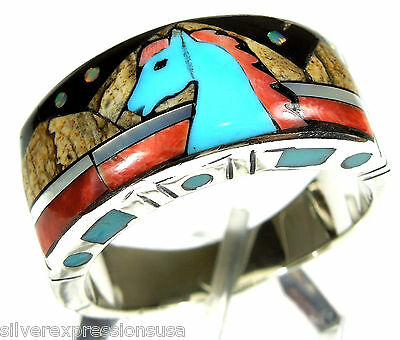 Mulicolor Inlay & Fire Opal Horse 925 Sterling Silver Men's, Women's Ring 12.5
