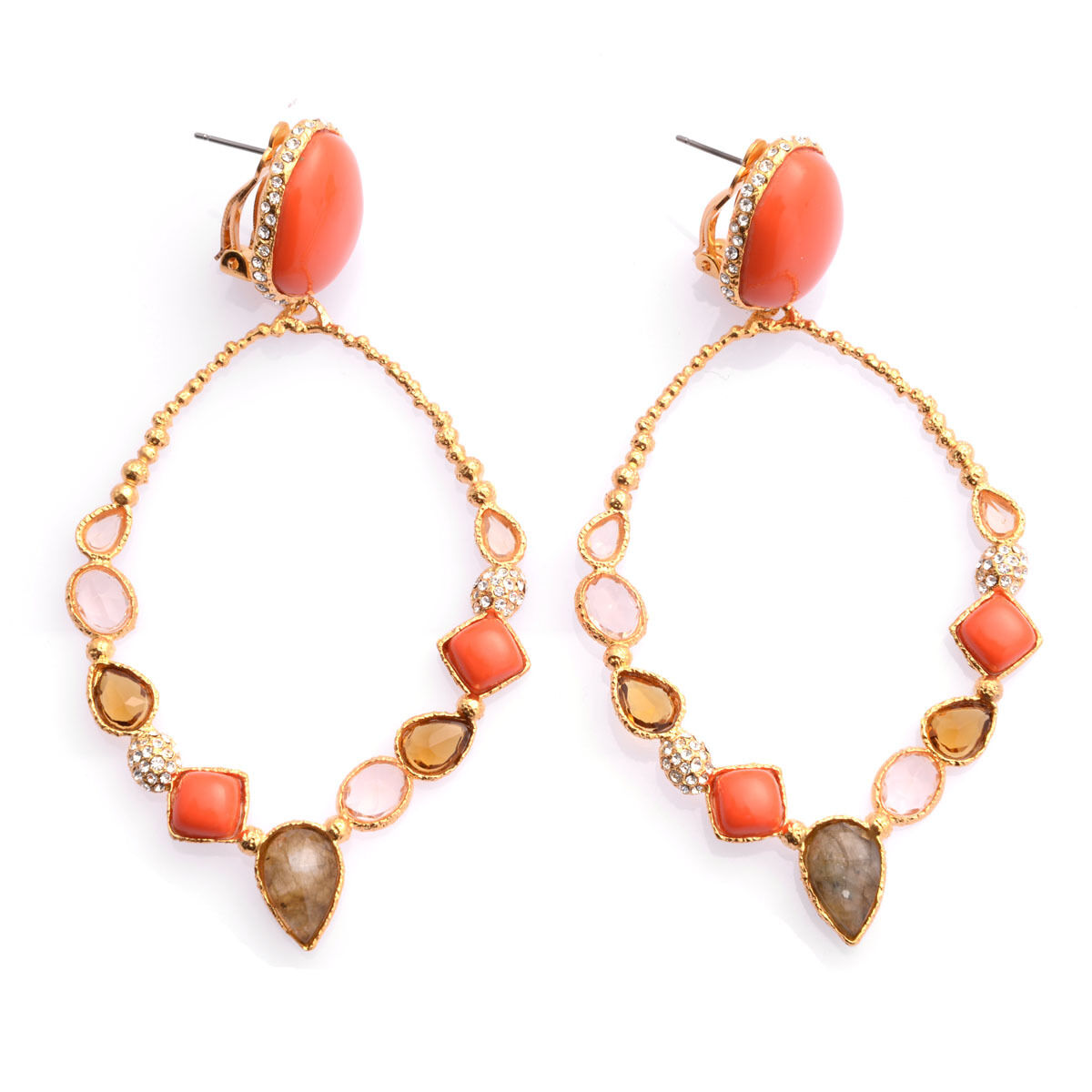 De Buman 18K Yellow gold Plated Red Coral with Multi-colord Crystal Earrings