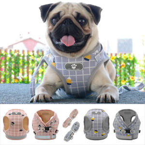 Reflective-Mesh-Padded-Small-Dog-Harness-and-Leads-Pet-Puppy-Cat-Vest-Pink-Gray
