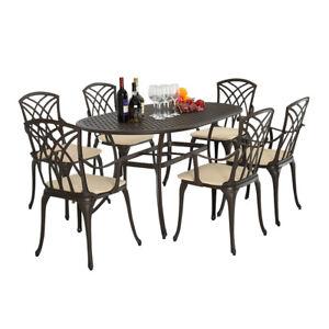 Détails sur METAL FONTE D\'ALUMINIUM 7 Pièce de mobilier de Jardin Table  Chaise de terrasse avec coussin- afficher le titre d\'origine