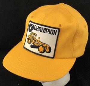21844b90d07bc Vtg 80s Hat Snapback Patch Cap Champion Motor Grader Heavy Equipment ...