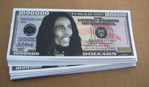 LOT OF 10 Bob Marley  MONEY WHOLESALE NOVELTY MILLION DOLLAR BILLS  FREE SHIP
