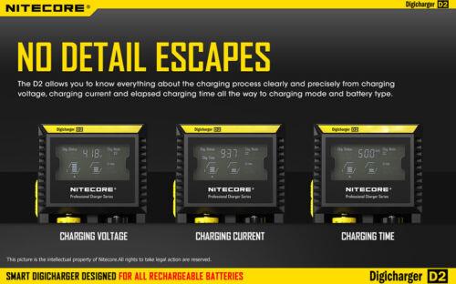 Nitecore Digi Charger D2 w//2x NL189 3400mAh 18650 Batteries Car /& Wall Adaptor