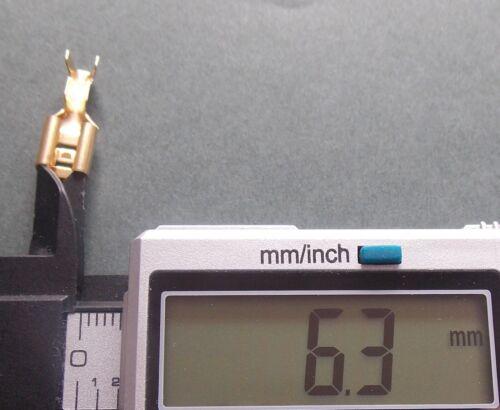 6.3mm Altavoz de cobre amarillo oro conectores hembra de horquilla terminal Alambre Paquete de 1-25