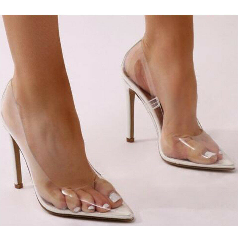 Women's Clear Lucite PVC Transparent Pointy Toe High Heels Pumps Party shoes