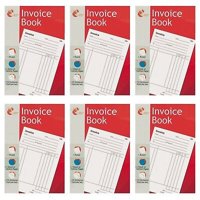 1-100 A5 INVOICE RECEIPT DUPLICATE CASH//VAT BOOK CARBON COPY TRADE RULED SHEETS6