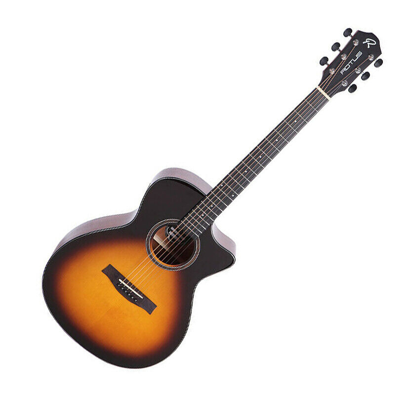 ROTUS FC-100 VS Sunburst Cutaway Spruce Mahogany Folk Body Acoustic Guitar