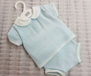 Precise Pex David Knitted 2pc Baby Boys Set Choose From White Or Blue Lustrous Clothing, Shoes & Accessories