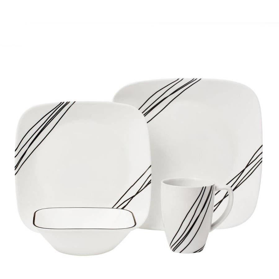 CORELLE Squares Simple Sketch 16 pc Set Vaisselle Cuisine Plats plaques carrées