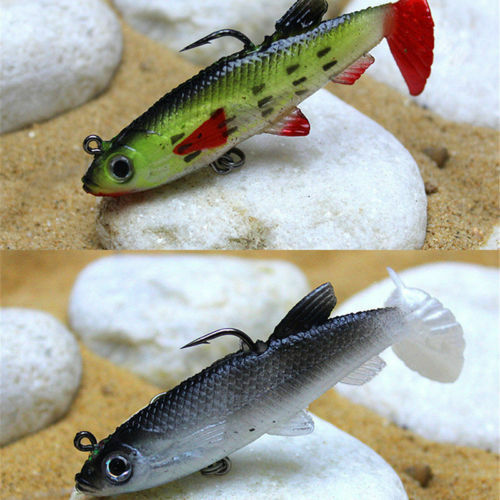 1x 8cm 14g Soft Plastic Lure With Lead Jig Head Tackle Sharp Hook Fishing Bait U