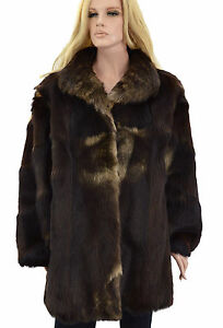 1-950-marron-beige-Royal-saga-fox-fur-3-4-Longueur-Genou-Manteau-Veste-Taille-XL