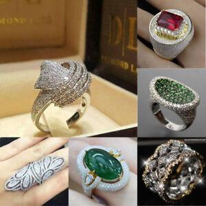 Elegant 18K Gold Filled Emerald Jewelry Women Wedding Engagement Ring Size 6-10
