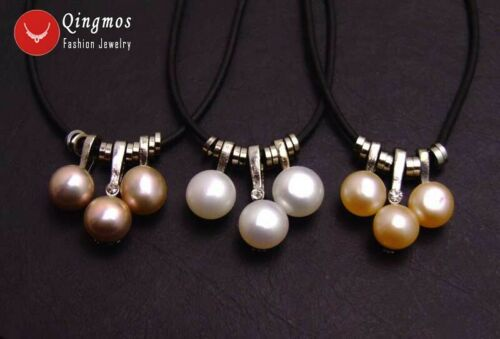 """Wholesale 3X Natural White Purple Pink 7mm Pearl Pendants Necklace for Women 17/"""""""