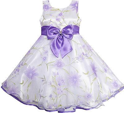 Sunny Fashion 3 Layers Girls Dress Diamond Bow Tie Purple Girl Kids Size 2-10