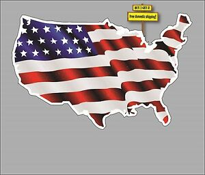 Usa Shaped American Flag Us Map Patriotic American Decal Flg9 Made - American-flag-us-map