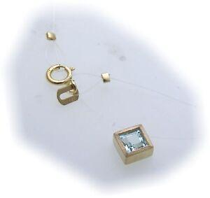 Damen-Collier-echt-Topas-585-Gold-Nylonkette-Nyloncollier-Blautopas-Gelbgold-Neu