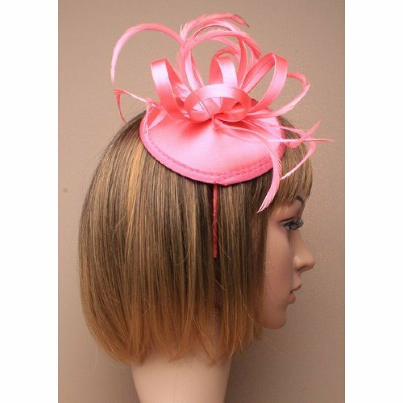 Pink satin fascinator cap aliceband for Ascot , Races, Weddings, Ladies Day