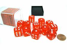 12 Die Translucent 16mm D6 Chessex Dice Block Orange with White Pips