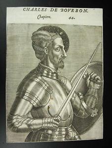 Charles-IV-Bourbon-Graf-Herzog-von-Vendome-Gravur-Andre-Thevet-16-Jahrhundert