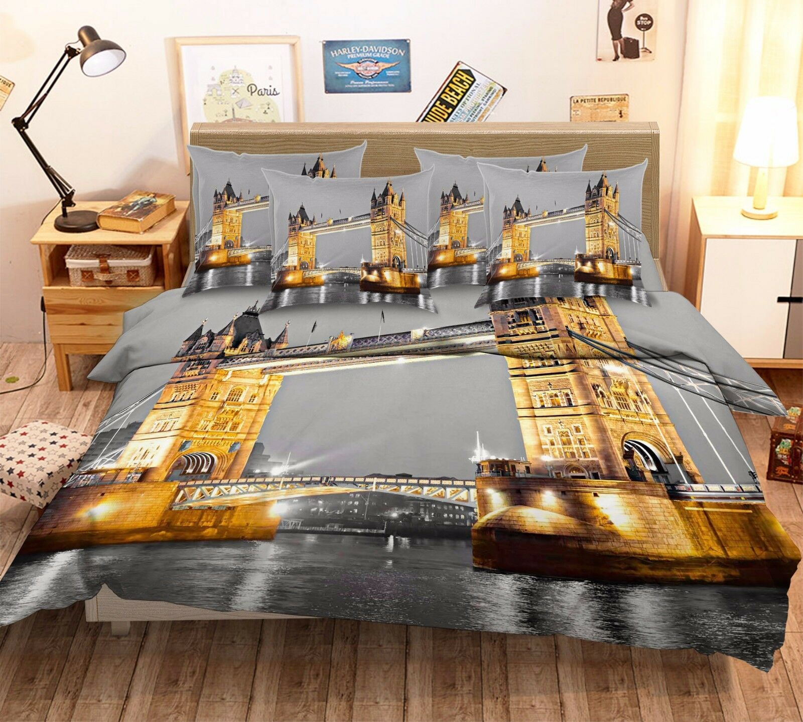 3D London Bridge 64 Bed Pillowcases Quilt Duvet Cover Set Single Queen King AU