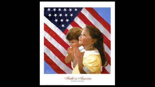 by Donald Zolan Premium POSTER Art Print FAITH IN AMERICA Kids Praying by Flag