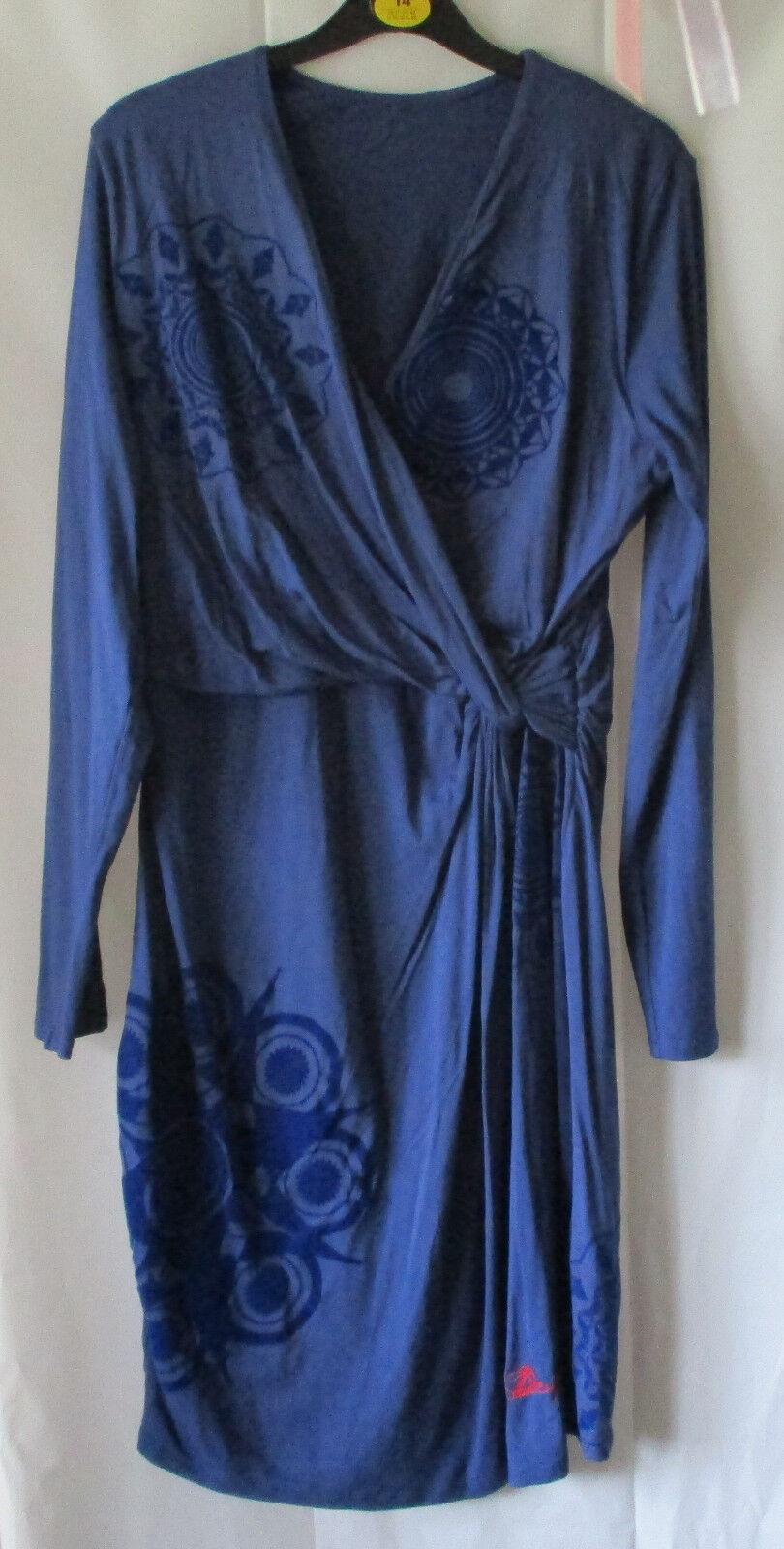 Desigual Kleid blau mit blauem Print, Gr. XL, ungetragen