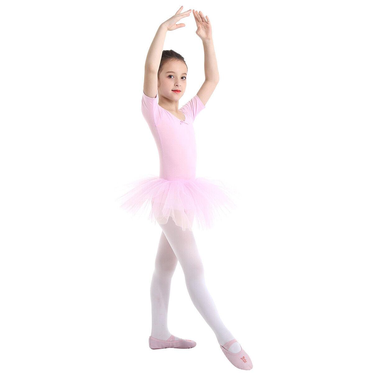 UK Girls Ballet Dress Gymnastics Skating Tutu Dress Child Performance Dancewear