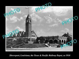 OLD-LARGE-HISTORIC-PHOTO-OF-SHREVEPORT-LOUISIANA-RAILROAD-DEPOT-STATION-c1910