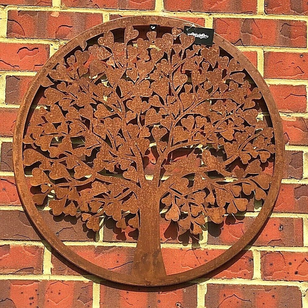 Heart Tree of Life Metal Wall Plaque 60cms Rust Finish