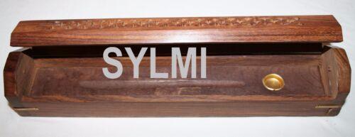 """12/""""Wooden Coffin Box Incense Burner//Stick//Holder//Brass Inlay//Storage Compartment"""