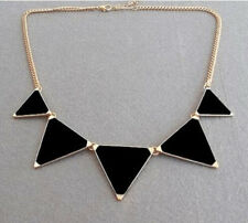 Fashion Punk Retro Black Enamel Geometry Triangle Pendant Collar Bib Necklace