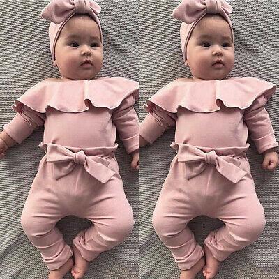 Toddler Baby Girls Long Ruffled Sleeve Romper Bodysuit+Headband 2Pcs Outfits Set
