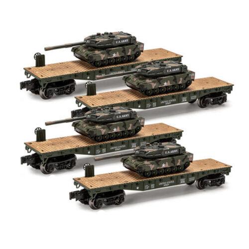 O GAUGE US ARMY MILITARY FLATCARs WITH U.S ARMY TANK  LIONEL MENARDS SET OF 4