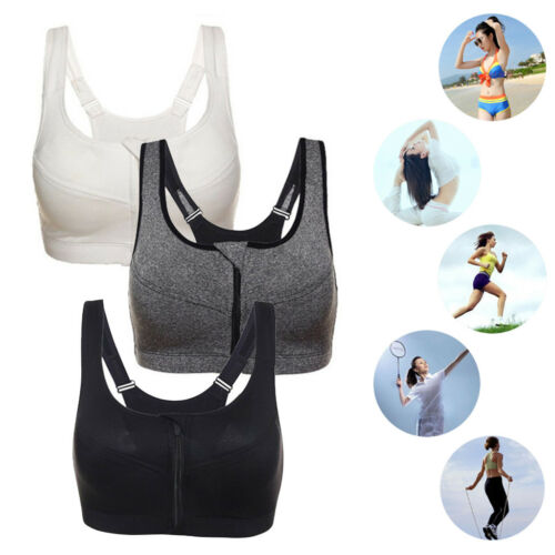 UK Women Ladies Front Zip Sports Bra Push Up High Impact Wireless Padded Vest BM