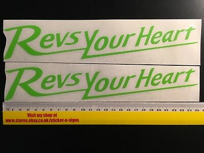 2 Red 255mm Stickers Decal Revs Your Heart Suitable For Suzuki Yamaha Bike MT-07