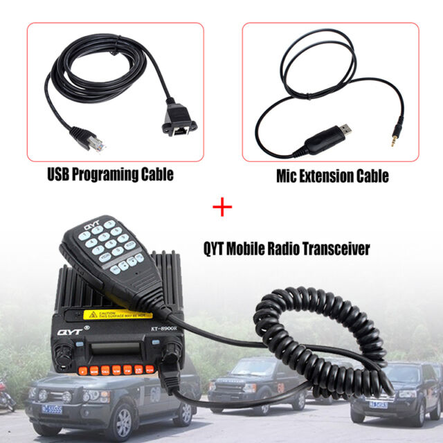 QYT KT-8900R Vehicle VHF/UHF Dual Band Mobile Radio Transceiver & Mic Cable Wire