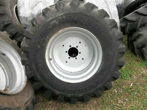 TWO-15X19-5-6-ply-R4-TITAN-KUBOTA-L45-Backhoe-Tractor-Tires-with-6-Hole-Rims