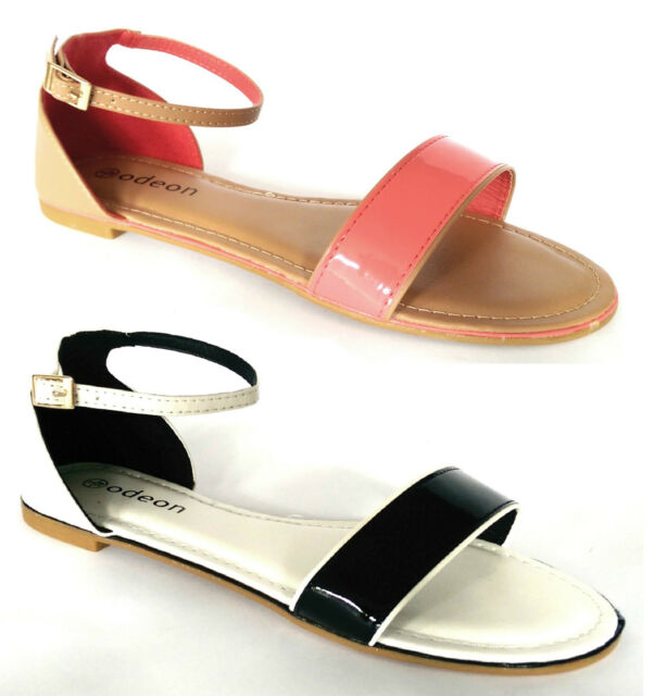 Womens Ladies New Flat Heel Ankle Strap Beach Summer Fashion Sandals Shoes Size