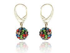 Shamballa Disco Balls Black and Colourful Crystal Drop Earrings E433
