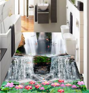 3D Waterfall Lotus 42 Floor WallPaper Murals Wall Print 5D AJ WALLPAPER UK Lemon