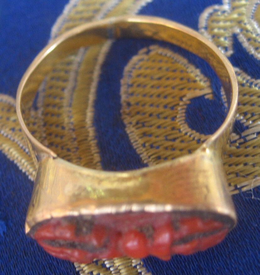 Antico Fatto a Mano Mano Mano Tibetano Corallo Vajra 22 Carati oro Anello, Nepal e6e7fc