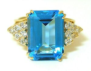 4.50Ct Emerald Cut Blue Topaz Double Halo Engagement Ring 14K White Gold  Finish