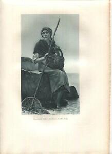 ANTIQUE I'LLE TUDY BRITTANY FRANCE FISHING WOMAN BASKET NET OCEAN NAUTICAL PRINT