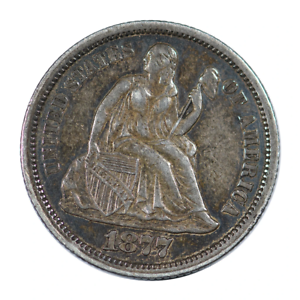 1877-CC Seated Liberty Dime Extra Fine Condition
