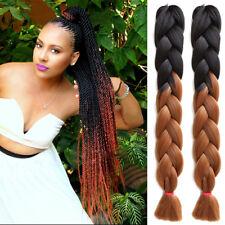 5pcs Black Brown Blonde 24 Ombre Dip Dye Kanekalon Braiding Hair