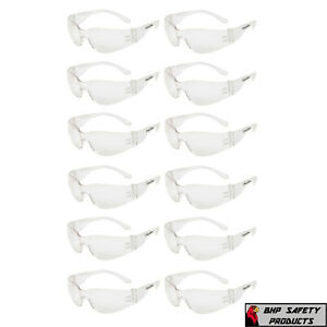12-PAIR-PACK-Protective-Safety-Glasses-Clear-Lens-Work-UV-ANSI-Z87-Lot-of-12